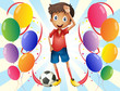 A soccer player in the middle of the balloons