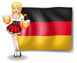 A girl with glasses of beer infront of the Germany flag