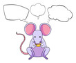 A mouse eating cheese with empty callouts