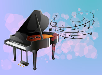 A piano with musical notes