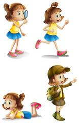 Different activities of a young girl