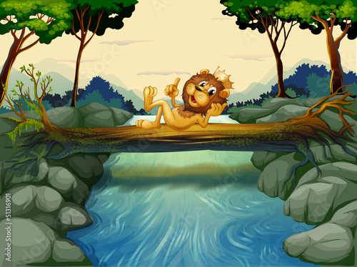 A lion with a crown at the river
