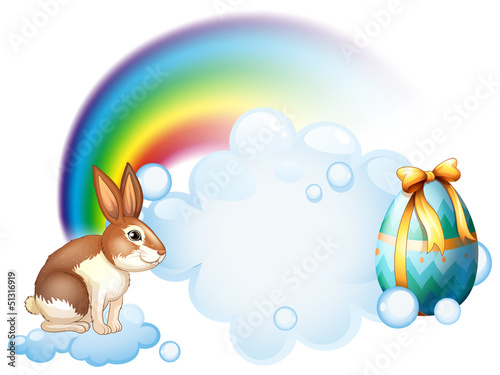 A rabbit and an egg near the rainbow