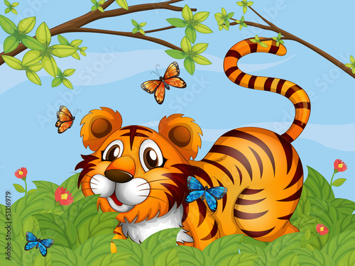 Poster Vlinders A tiger with butterflies in the garden