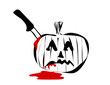 jack o lantern with knife and blood