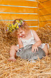 Beautiful little girl with a rabbit