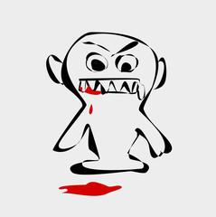 evil demon cartoon with blood
