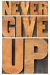 never give up in wood type