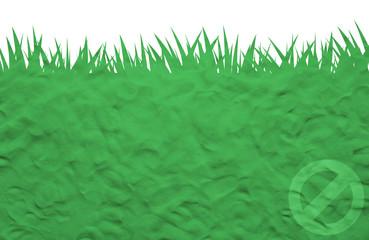 Label icon on plasticine grass