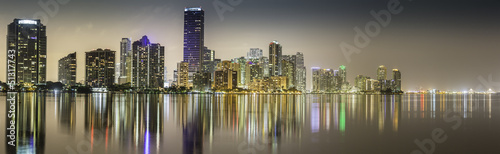 Miami downtown panorama by night