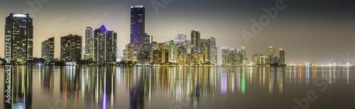 Miami downtown panorama by night