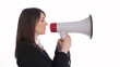 Megaphone executive tries to get her message across.