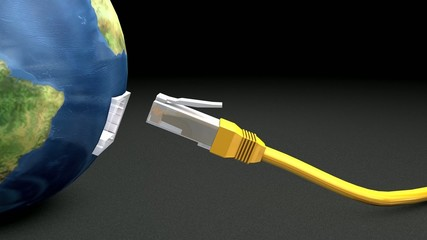 Online world wire connected concept animation. With chroma matte