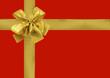 cadeau emballage rouge noeud doré
