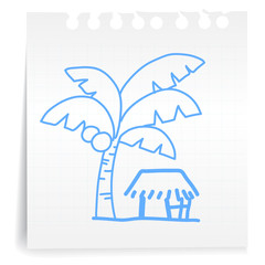 Small house cartoon_on paper Note