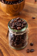 Glass jar with coffee beans
