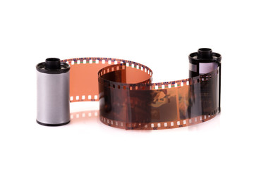 Close up image of an old 35 mm negative film strip