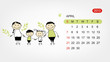 Vector calendar 2013. Family illustration for your design