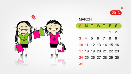 Vector calendar 2013. Girls with shopping bags for your design