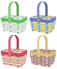 Colorful baskets on white background