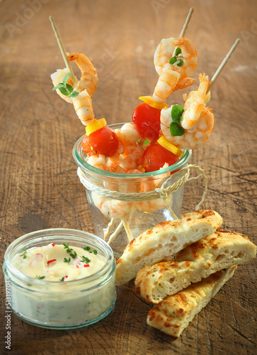 Seafood cocktail sticks with shrimps