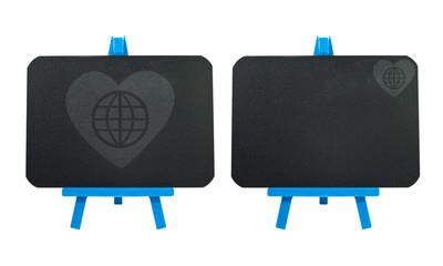 Heart with global icon on blank blackboard background