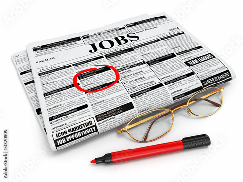 Search job. Newspaper with advertisments, glasses and marker.