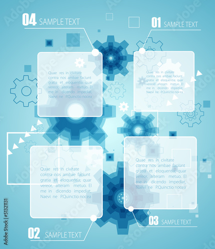 Blue technology infographic. Vector