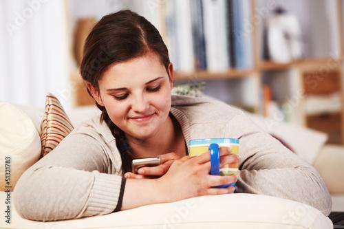 teenager girl on the sofa