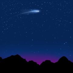 星空と彗星