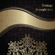 Vintage damask seamless background with a ribbon