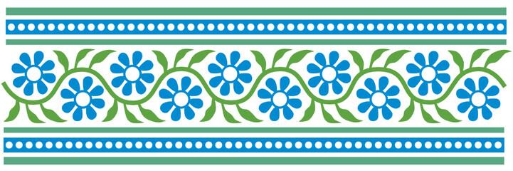 florale bordüre in grün, blau, türkis