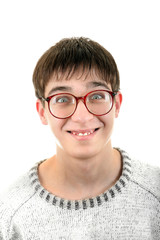 Funny Young Man in Glasses