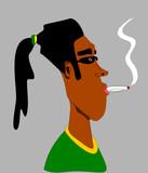 black man with ponytail smoking poster