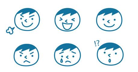 男の子の表情(青)