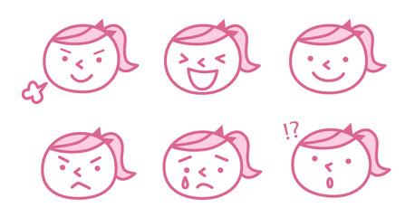 子供の表情(ピンク)
