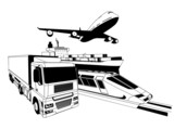 Cargo logistics transport illustration