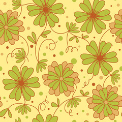seamless yellow floral pattern