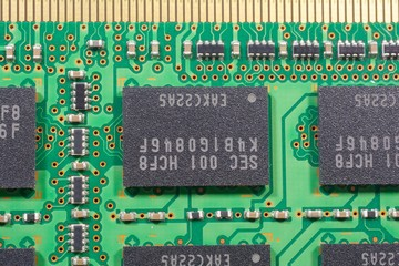 stock photo close up printed electronics and chipsets