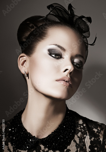 Gentleness. Portrait of Luxurious Lady in Black. Elegance