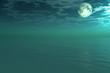 canvas print picture Moon under ocean - digital artwork