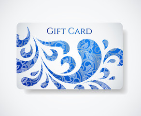 White gift card (discount card) with vlue floral pattern