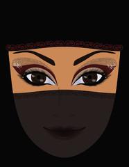 Beautiful arabian woman, vector illustration
