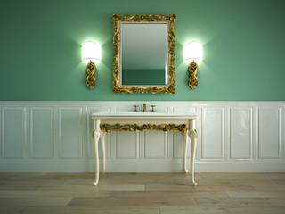 klassischer waschtisch mit spiegel
