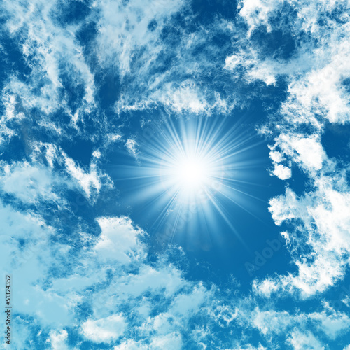 canvas print picture Blue sky with white clouds - digital artwork