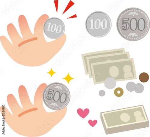 ワンコインとお金のイメージ
