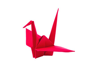 origami red paper bird on white background