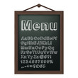 Cafe menu board with chalk alphabet. Vector illustration.