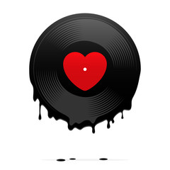 Melted vinyl record with heart. Vector illustration.