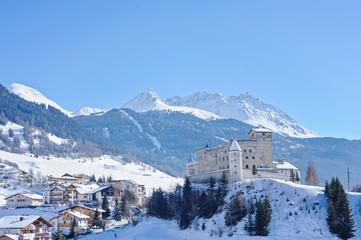 Winter castle and mountains view in Nauders, Austria